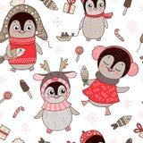 Weihnachtsnahtloses Muster mit netten Pinguinen und Schneeflocke Stockbilder