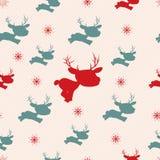 Weihnachtsnahtloses Muster mit Rotwild Lizenzfreie Stockfotografie