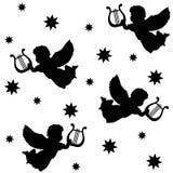 Weihnachtsnahtloses Muster mit Schattenbildern von Engeln, Harfe und Sterne, lokalisierte schwarze Ikonen auf weißem Hintergrund,  Stockbilder