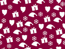 Weihnachtsnahtloses Muster mit Schneeflocken, Geschenkbox und Kappe von Lizenzfreie Abbildung