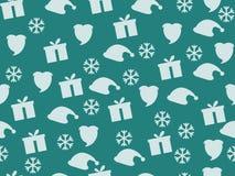 Weihnachtsnahtloses Muster mit Schneeflocken, Geschenkbox und Kappe von Santa Claus Stock Abbildung