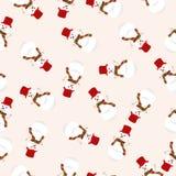 Weihnachtsnahtloses Muster mit Schneemann Stockfotografie