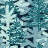 Weihnachtsnahtloses Muster mit stilisierten schneebedeckten Weihnachtsbäumen stockfoto