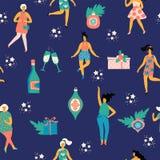 Weihnachtsnahtloses Muster mit Tanzenfrauen und Symbolen des neuen Jahres s Lizenzfreie Stockfotografie