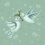 Weihnachtsnahtloses Muster mit Tauben Stockfoto