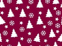 Weihnachtsnahtloses Muster mit Weihnachtsbäumen, Schneeflocken und Sternen Lizenzfreie Abbildung