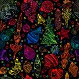 Weihnachtsnahtloses Muster mit Weihnachtsbaum Stockbilder