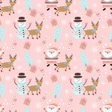 Weihnachtsnahtloses Muster mit Weihnachtsmann, Rotwild und Schneemann lizenzfreie abbildung