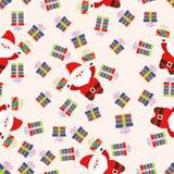 Weihnachtsnahtloses Muster mit Weihnachtsmann und Geschenken Stockbilder