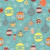 Weihnachtsnahtloses Muster mit Weihnachtsspielwaren Stockfotografie