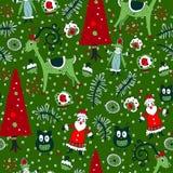 Weihnachtsnahtloses Muster mit Weihnachtsspielwaren Stockfotos