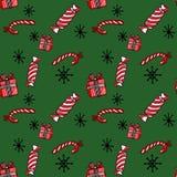 Weihnachtsnahtloses Muster mit Zuckerstangen, Geschenk und Schneeflocken auf grünem Hintergrund stock abbildung