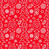 Weihnachtsnahtloses Muster - Sankt und Zuckerstangen stockbilder
