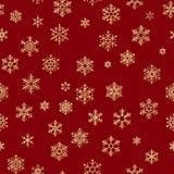 Weihnachtsnahtloses Muster von den weißen Schneeflocken auf rotem Hintergrund ENV 10 stock abbildung