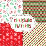Weihnachtsnahtloses Musterset Lizenzfreies Stockfoto