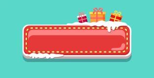 Weihnachtsnetz-Knopf bedeckt mit Schnee-Vektor-Ikone Lizenzfreies Stockbild