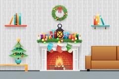 Weihnachtsneues Jahr-Haus-Innenwohnzimmer-Möbel-Ikonen eingestellte flache Design-Vektor-Illustration Stockbild