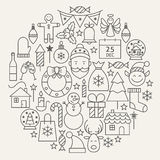 Weihnachtsneujahrsfeiertag-Linie Ikonen eingestelltes Rundschreiben geformt Stockfotografie
