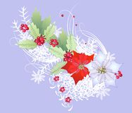 Weihnachtsniederlassung mit Schneeflocken und Beere vektor abbildung