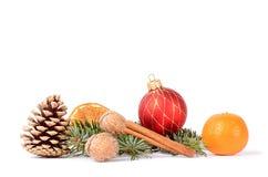 Weihnachtsniederlassung und -glocken Stockfotos