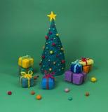 Weihnachtsniederlassung und -glocken Stockbild