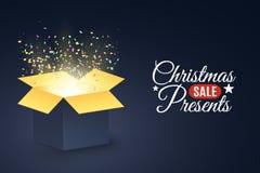 Weihnachtspakete - Weihnachtsgeschenk Plakat für den Weihnachtsverkauf Öffnen Sie dunkle Geschenkbox Bunter Confetti Weihnachtsge lizenzfreie abbildung