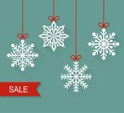 Weihnachtspapierkarte Verkauf Flache Illustration des Vektors Lizenzfreies Stockbild