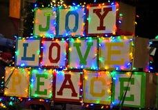 Weihnachtsparade-Floss Joy Love Peace stockfotografie