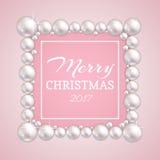 Weihnachtsperlenrahmen Vector Modeperlengrenze für die Heirat, Jahrestag oder Einladung lizenzfreie abbildung
