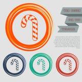 Weihnachtspfefferminz-Zuckerstange mit Streifenikone auf den roten, blauen, grünen, orange Knöpfen für Ihre Website und dem Desig lizenzfreie abbildung