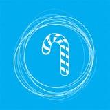 Weihnachtspfefferminz-Zuckerstange mit Streifenikone auf einer blauen Hintergrundzusammenfassung kreist herum und Platz für Ihren stock abbildung
