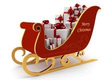 WeihnachtsPferdeschlitten mit weißen Geschenken stock abbildung