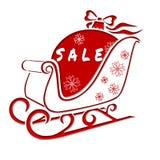Weihnachtspferdeschlitten mit Weihnachtsball mit einem Aufkleber-Verkauf lizenzfreie abbildung