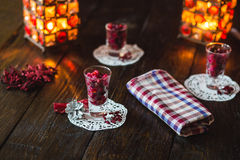 Weihnachtsphantasie verzierte Essigsoße Stockfotografie