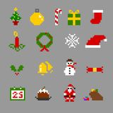 Weihnachtspixel-Ikonen-Satz Stockfotos