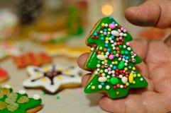 Weihnachtsplätzchen hergestellt mit den Großmutter ` s Händen stockfotografie