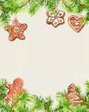 Weihnachtsplätzchen, Ingwermann, Nadelbaumbaumastrahmen Sankt Klaus, Himmel, Frost, Beutel watercolor lizenzfreie abbildung