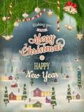 Weihnachtsplakat mit Dorf ENV 10 Stockbilder