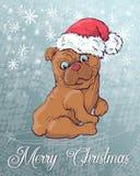 Weihnachtsplakat mit Hundeporträt in rotem Hut Sankt s und grünes kariertes Halstuch mit Bogen Stockbild
