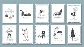 Weihnachtsplakat- und -grußkarten in der Retro- skandinavischen Art Weihnachtsbälle in den Pastellfarben, Winterlandschaft und