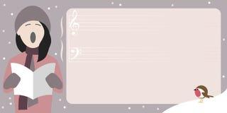 Weihnachtsplakatschablone mit dem jungen Mädchen, das ein Weihnachtslied singt stockbild