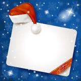 Weihnachtsplatte auf schneebedecktem Hintergrund Stockfotos