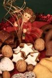 Weihnachtsplatte mit Engel Stockfotos