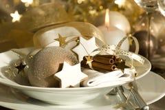 Weihnachtsplatzeinstellung Stockfotos