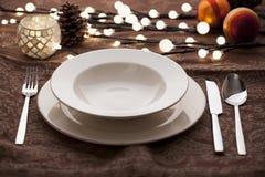 Weihnachtsplatzeinstellungen Stockfoto