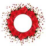 Weihnachtspoinsettia blüht ringsum Anordnung mit Konfettis und Lizenzfreie Stockfotos
