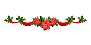Weihnachtspoinsettiarahmen vektor abbildung