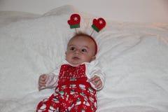 Weihnachtsporträt des netten kleinen Babys Lizenzfreies Stockbild