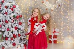 Weihnachtsporträt von zwei lächelnden Schwesterfreunden der beautyful netten Mädchen und von Weihnachtsgrünem weißem Luxusbaum im Lizenzfreie Stockfotografie