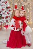 Weihnachtsporträt von zwei lächelnden Schwesterfreunden der beautyful netten Mädchen und von Weihnachtsgrünem weißem Luxusbaum im Stockbild